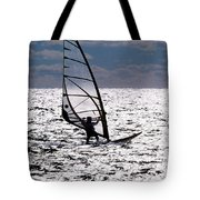 windsurfer rides the water at West Dennis Beach on Cape Cod Tote Bag