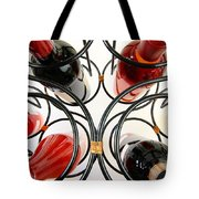 Wine Bottles In Curved Wine Rack Tote Bag