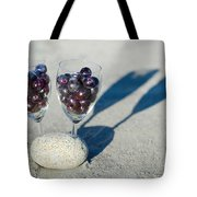 Wine Glass With Grapes Tote Bag