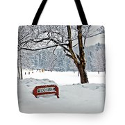 Winter Beach Sign Tote Bag by Aimee L Maher Photography and Art Visit ALMGallerydotcom