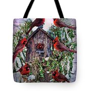 Winter Birdhouse Tote Bag