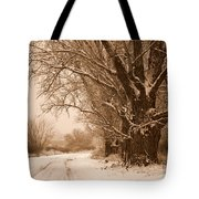 Winter Country Road Tote Bag