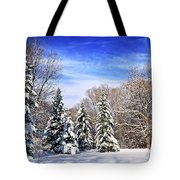Winter Forest With Snow Tote Bag