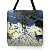 Winter Hillside Morzine France Tote Bag