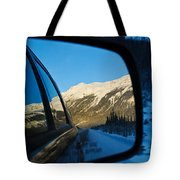 Winter Landscape Seen Through A Car Mirror Tote Bag