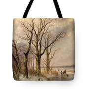 Winter Landscape With Faggot Gatherers Conversing On A Frozen Lake Tote Bag