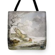 Winter Landscape With Men Snowballing An Old Woman Tote Bag