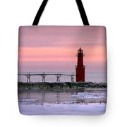 Winter Lighthouse Tote Bag