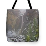 Winter Lower Yosemite Falls Tote Bag
