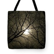Winter Moon On A Cold Foggy Winter Night Tote Bag