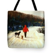 Winter Road Quebec Laurentian Landscape Tote Bag