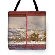 Winter Rocky Mountain Foothills Red Barn Picture Window Frame Ph Tote Bag