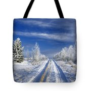 Winter Rural Road Tote Bag