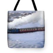 Winter Steam Train Tote Bag