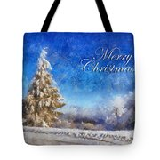 Wintry Christmas Tree Greeting Card Tote Bag by Lois Bryan