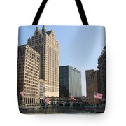 Wisconsin River Brige With Flags Tote Bag