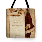 Wishlist For Santa Claus  Tote Bag