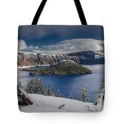 Wizard Island After Summer Snowfall Tote Bag