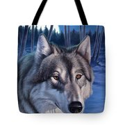 Wolf In Moonlight Tote Bag