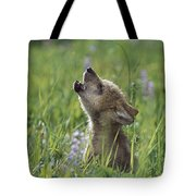 Wolf Puppy Howling In Mountain Meadow Tote Bag