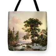 Wolves In A Winter Landscape Tote Bag