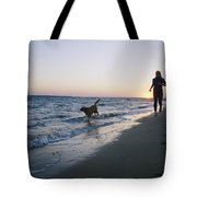 Woman And Dog Running On Beach, Nags Tote Bag