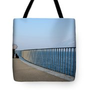 Woman And Her Dog On The Path Tote Bag