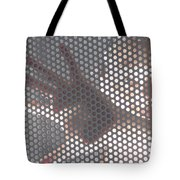 Woman Behind A Metal Mesh Tote Bag