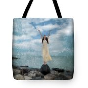 Woman By The Sea With Arms Reaching Up In Praise Tote Bag