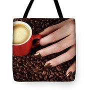 Woman Hand Holding A Cup Of Latte Tote Bag