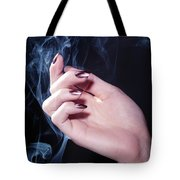 Woman Hand In A Stream Of Smoke Tote Bag