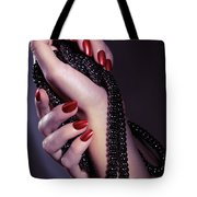 Woman Hands Holding Jewelry Tote Bag