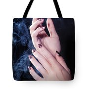 Woman Hands In A Cloud Of Smoke Tote Bag