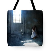 Woman Hiding In Abandoned Room Tote Bag