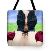 Woman Hiding Tote Bag