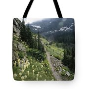 Woman Hiking On Sperry Chalet Trail Tote Bag