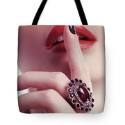 Woman Holding Index Finger To Her Lips Tote Bag