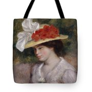 Woman In A Flowered Hat Tote Bag