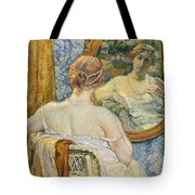 Woman In A Mirror Tote Bag