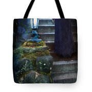 Woman In Dark Gown On Old Staircase Tote Bag
