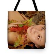 Woman In Fallen Leaves Tote Bag