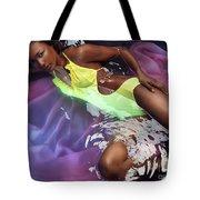 Woman In Swimsuit Lying In Water Tote Bag