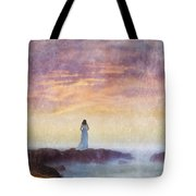 Woman In Vintage Dress At The Rocky Shore At Dawn Tote Bag