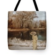 Woman In Vintage Dress With Parason By Lake Tote Bag
