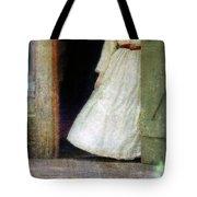 Woman In Vintage Victorian Era Dress In Doorway Tote Bag