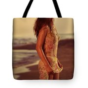 Woman In Wet Dress At The Beach Tote Bag