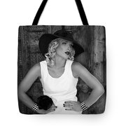 Woman In White  Bw Tote Bag