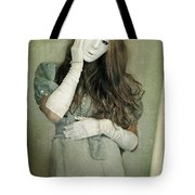 Woman In White Mask Wearing 1930s Dress Tote Bag