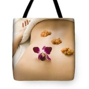 Woman Lying On Massage Table Receiving Tote Bag