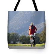 Woman On A Bicycle With Her Dog Tote Bag